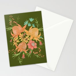 Australian Florals in Green Stationery Cards