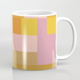 Modern Vintage Patchwork Squares in Lavender, Lilac, Mustard, and Orange Coffee Mug