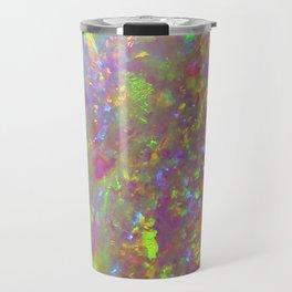 Opal iridescent holographic faux druse crystal quartz agate gem gemstone geode mineral stone photo Travel Mug