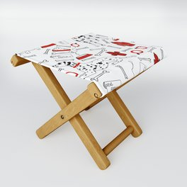dalmatians with pops of red Folding Stool
