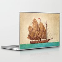 feathers Laptop & iPad Skins featuring Winged Odyssey by Terry Fan