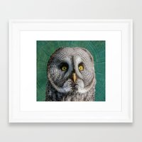 grey Framed Art Prints featuring GREY OWL by Catspaws