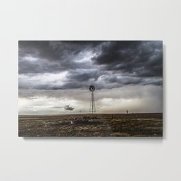 No Man's Land - Windmill on Stormy Day in Oklahoma Panhandle Metal Print