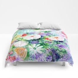 "Watercolor Painting ""Good Mood Flowers Comforters"