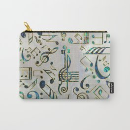 Golden Framed  Musical notes pattern abalone shell Carry-All Pouch