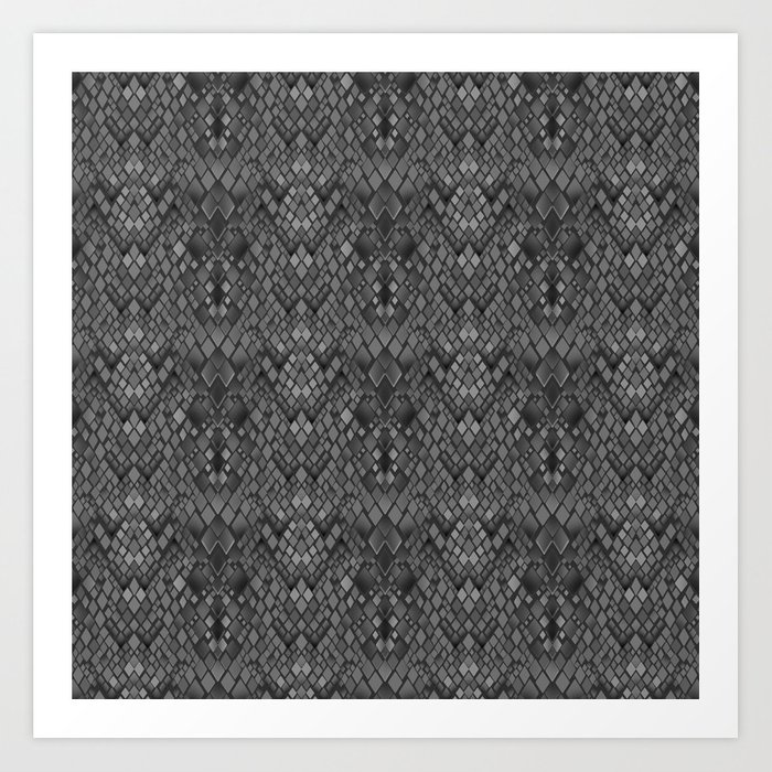 Abstract And Faux Crocodile Skin Texture Dark Gray Art Print By Decoli