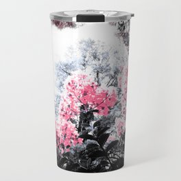 Pink Flowers Pop of Color Travel Mug