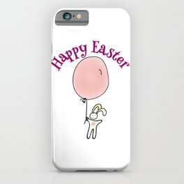 Happy Easter Bunny with Balloon iPhone Case