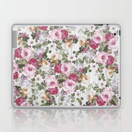 Vintage rustic white wood blush pink floral Laptop & iPad Skin