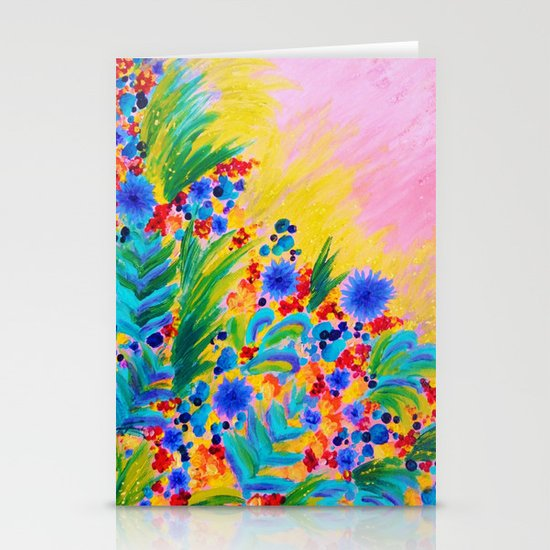 NATURAL ROMANCE in PINK - October Floral Garden Sweet Feminine Colorful Rainbow Flowers Painting Stationery Cards