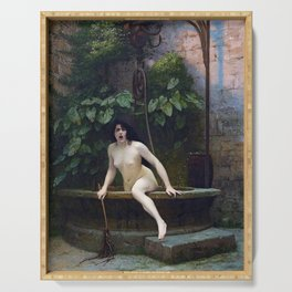 TRUTH COMING OUT OF HER WELL TO SHAME MANKIND - JEAN-LEON GEROME Serving Tray