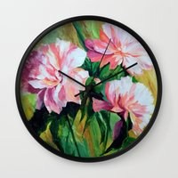 peonies Wall Clocks featuring Peonies by OLHADARCHUK