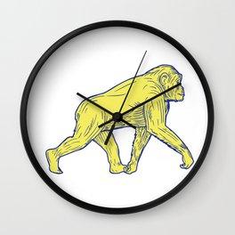 Chimpanzee Walking Side Drawing Wall Clock