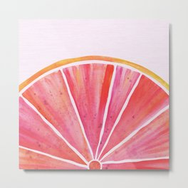 Sunny Grapefruit Watercolor Metal Print