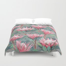 Pink Painted King Proteas on grey Duvet Cover