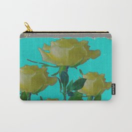 SHABBY CHIC TURQUOISE ANTIQUE IVORY YELLOW ROSE GARDEN Carry-All Pouch