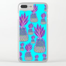 Aqua Pineapple Parade - Neon Pink and Green Pineapples Clear iPhone Case