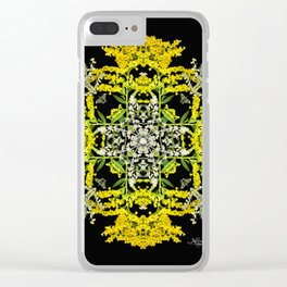 Crowning Goldenrod and Silver king Kaleidoscope Scanography Clear iPhone Case