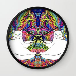 Psychedelic White Cat Wall Clock