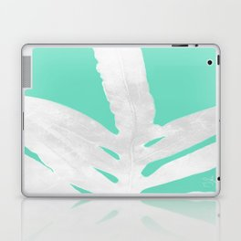 Green Fern on Ice Mint Green Inverted Silver Laptop & iPad Skin