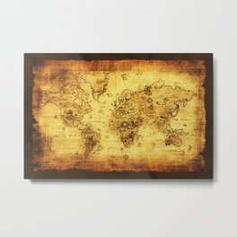 Arty Vintage Old World Map Metal Print