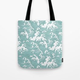 Traditional Hand Drawn Japanese Wave Ink Tote Bag