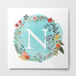 Personalized Monogram Initial Letter N Blue Watercolor Flower Wreath Artwork Metal Print