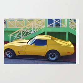 Yellow Chevy Vette Rug