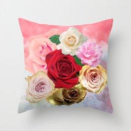 Rose Garden - Floral Spring Summer Roses Design Throw Pillow