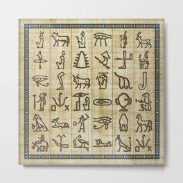 Ancient Egyptian Hieroglyphs on Papyrus Metal Print