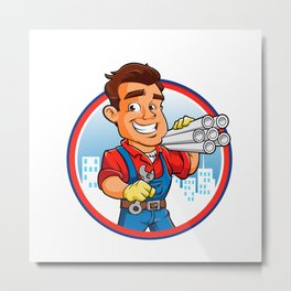 plumber worker with key in the hand Metal Print