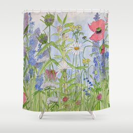 Flowers Alive Watercolor Shower Curtain