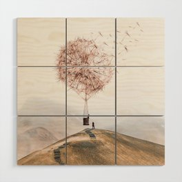 Flying Dandelion Wood Wall Art