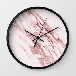 Deep rose pink marble Wall Clock