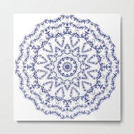 White Blue pattern Metal Print