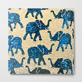 Elephant March Blue Metal Print