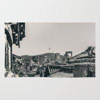 seoul Area & Throw Rugs featuring Seoul Cityscape by Jennifer Stinson