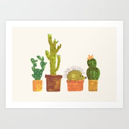 Hedgehog and Cactus (incognito) Art Print