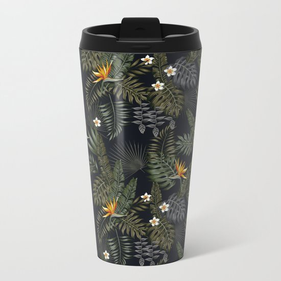night tropical pattern Metal Travel Mug