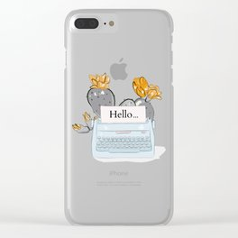 Cacti typewriter Clear iPhone Case