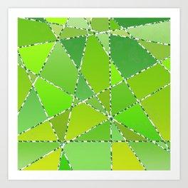Geometric shapes in green gradient colors Art Print