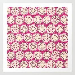 flower block ivory pink Art Print