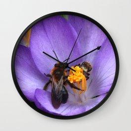 Bees and Crocus Wall Clock