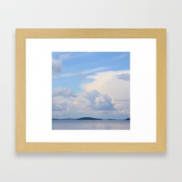 Blue Lakescape With White Clouds In The Blue Sky #decor #society6 Framed Art Print