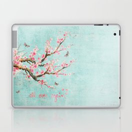 Its All Over Again - Romantic Spring Cherry Blossom Butterfly Illustration on Teal Watercolor Laptop & iPad Skin