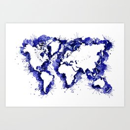 Navy blue watercolor world map with strokes Art Print
