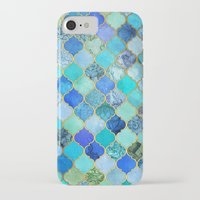 duvet iPhone & iPod Cases featuring Cobalt Blue, Aqua & Gold Decorative Moroccan Tile Pattern by micklyn