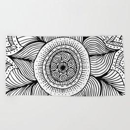 Doodle Flower Beach Towel