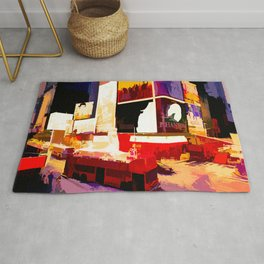 Times Square II (abstract colour print) Rug