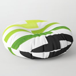 Minimalist Mid Century Modern Sap Green Watercolor Painting Lightning Bolt Zig Zag Pattern With Blac Floor Pillow